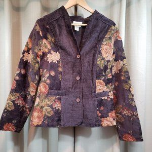 COLDWATER CREEK Purple Floral Tapestry Blazer